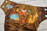 Woodgrain Forest Animals (seaspray awj & snaps)<br>Traditional, One Size Pocket Diaper<br>Instock and Ready to Ship