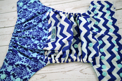 Whovian Chevron (printed pul outer, seaspray snaps)<br>Wrap Around, One Size Pocket Diaper<br>Instock and Ready to Ship