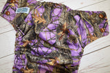Purple Forest Floor (brown awj & snaps)<br>Traditional, One Size Pocket Diaper<br>Instock and Ready to Ship