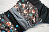 Stone Cold Fox ( aqua snaps )<br>Boutique Scrappy, One Size Pocket Diaper<br>Instock and Ready to Ship