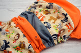 The Woodland Critters (two-toned snaps - silver caps / orange pieces)<br>Boutique Scrappy, One Size Pocket Diaper<br>Instock and Ready to Ship