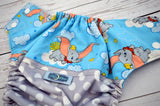 Sam's Polka Dotted (printed pul outer, two-toned snaps- white caps / aqua pieces)<br>Wrap Around, One Size Pocket Diaper<br>Instock and Ready to Ship