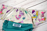Mermaid and her Magic Conch (two-toned snaps - hot pink caps / lavender pieces)<br>Bella Bum Scrappy, One Size Pocket Diaper<br>Instock and Ready to Ship