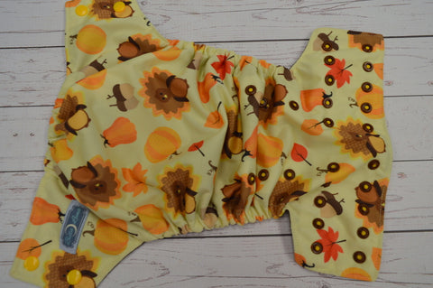 Harvest Turkeys (brown awj, two toned snaps; marigold caps, brown pieces)<br>Traditional, One Size Pocket Diaper<br>Instock and Ready to Ship