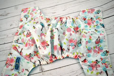 Seaspray Spring Birdie (two-toned snaps- light pink caps / seaspray pieces)<br>Traditional, One Size Pocket Diaper<br>Instock and Ready to Ship