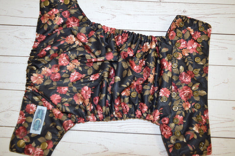 Ruby Rose (black awj, bronze snaps)<br>Traditional, One Size Pocket Diaper<br>Instock and Ready to Ship