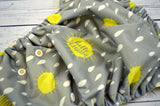 Hello Sunshine (two-toned snaps- marigold caps / white pieces)<br>Traditional, One Size Pocket Diaper<br>Instock and Ready to Ship