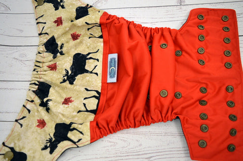 Moose (red outer, black inner, bronze snaps) <br>Wrap Around, One Size Pocket Diaper<br>Instock and Ready to Ship