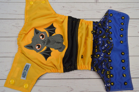 Cat Bat (black awj, two toned snaps; marigold caps, black pieces)<br>Embroidered Crazy Scrappy, One Size Pocket Diaper<br>Instock and Ready to Ship