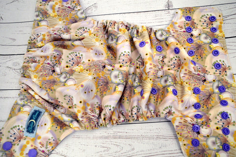 Dandelion Breeze (lavender inner, med purple snaps)<br>Traditional, One Size Pocket Diaper<br>Instock and Ready to Ship