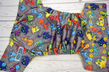 Dino Buddies (citron inner, two toned marigold and aqua snaps) <br>Traditional, One Size Pocket Diaper<br>Instock and Ready to Ship