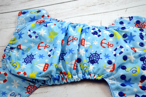 My Little Sailor ( royal snaps )<br>Traditional, One Size Pocket Diaper<br>Instock and Ready to Ship