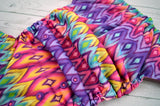 Sunset Aztec(two-toned snaps - hot pink caps / violet pieces)<br>Traditional, One Size Pocket Diaper<br>Instock and Ready to Ship