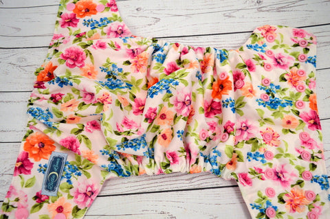 Chelsea Floral (light pink inner & snaps) <br>Traditional, One Size Pocket Diaper<br>Instock and Ready to Ship