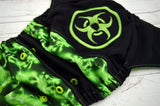 Radioactive (embroidered - two-toned snaps- black caps / apple pieces)<br>PK Wrapped Crazy Scrappy, One Size Pocket Diaper<br>Instock and Ready to Ship