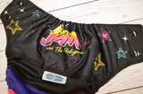 Holograms (black awj & snaps)<br>Wrapped Crazy Scrappy, One Size Pocket Diaper<br>Instock and Ready to Ship