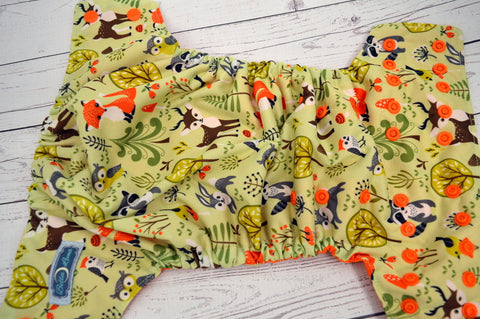 Woodland Buddies (orange inner & snaps) <br>Traditional, One Size Pocket Diaper<br>Instock and Ready to Ship