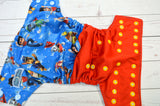 On Patrol ( red pul, light blue awj, light blue caps, marigold pieces) <br>Half & Half, One Size Pocket Diaper<br>Instock and Ready to Ship