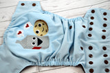 Milk & Cookies ( light blue outer, brown snaps)<br>Embroidered, One Size Pocket Diaper<br>Instock and Ready to Ship