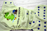 Monster in Training ( celery outer, royal snaps)<br>Embroidered, One Size Pocket Diaper<br>Instock and Ready to Ship