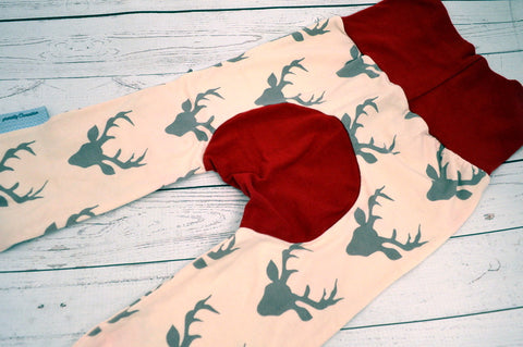 Charcoal Deer (red accent) <br>Bella Bum Pants<br>Instock and Ready to Ship