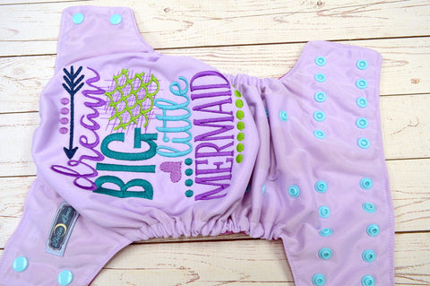 Dream Big #1 ( Lavender pul, Seaspraw awj & Snaps) <br>Embroidered, One Size Pocket Diaper<br>Instock and Ready to Ship