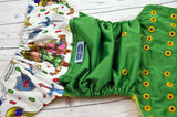 Green Deku Diaper (kelly outer,two-toned snaps - royal caps / marigold pieces)<br>Wrap Around, One Size Pocket Diaper<br>Instock and Ready to Ship