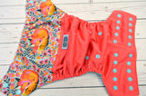 Sleepy Fox on Coral (coral pul, seaspray awj & snaps) <br>Wrap Around, One Size Pocket Diaper<br>Instock and Ready to Ship