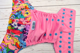 Pony Pals ( raspberry pul, violet awj, med purple cap, aqua pieces) <br>Wrap Around, One Size Pocket Diaper<br>Instock and Ready to Ship