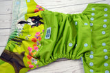 Le Pew (ribbit outer, light blue snaps) <br>Wrap Around, One Size Pocket Diaper<br>Instock and Ready to Ship