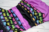 Galactic Invaders ( two-toned snaps - black caps / violet pieces)<br>Boutique Scrappy, One Size Pocket Diaper<br>Instock and Ready to Ship