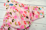 Berries & Cherries (Raspberry awj, seaspray caps, light pink pieces) <br>Traditional, One Size Pocket Diaper<br>Instock and Ready to Ship