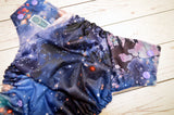 Flowers in Space ( lavender awj, med purple snaps) <br>Traditional, One Size Pocket Diaper<br>Instock and Ready to Ship