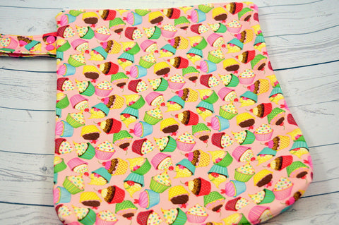 "Cupcakes (WITH snaps)<br> 12"" x 14"" Printed PUL Wetbag<br>Instock and Ready to Ship"