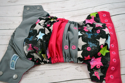 Shining Like a Star (two-toned - silver caps / hot pink pieces)<br>Boutique Scrappy, One Size Pocket Diaper<br>Instock and Ready to Ship