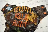 ORANGE Crawl, Walk, Hunt (printed pul, orange awj, orange snaps) <br>Embroidered, One Size Pocket Diaper<br>Instock and Ready to Ship