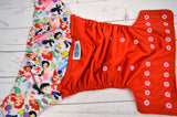 Under the Sea (red pul, raspberry awj, two toned; violet caps, light pink pieces) <br>Wrap Around, One Size Pocket Diaper<br>Instock and Ready to Ship