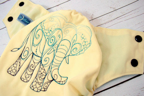 Ivory Elephants (ivory outer, navy snaps)<br>Embroidered, One Size Pocket Diaper<br>Instock and Ready to Ship