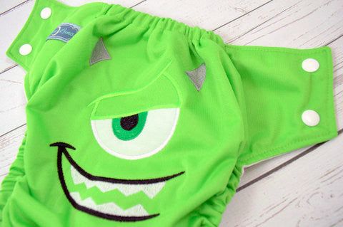 Green School Monster (spring green outer, white snaps)<br>Embroidered, One Size Pocket Diaper<br>Instock and Ready to Ship