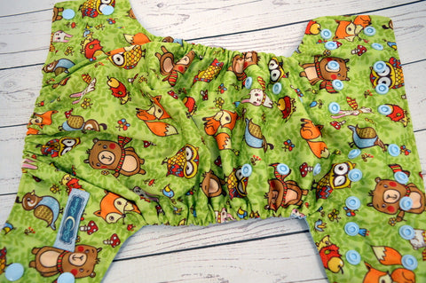 Hooty & Friends (light blue awj & snaps) <br>Traditional, One Size Pocket Diaper<br>Instock and Ready to Ship