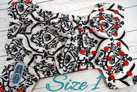NEWBORN Queen of Hearts (red awj & snaps) <br>Traditional Size One Pocket Diaper<br>Instock and Ready to Ship