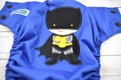Bat Boy Royal ( royal outer,  two-toned snaps- black caps / marigold pieces ) <br>Embroidered, One Size Pocket Diaper<br>Instock and Ready to Ship