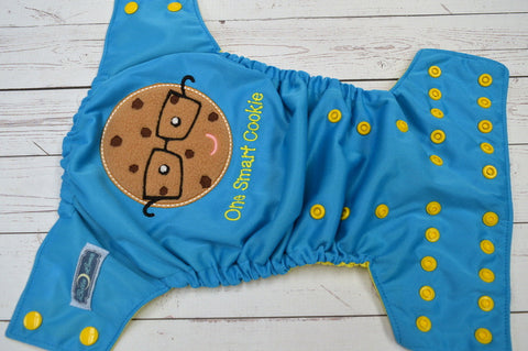 Smart Cookie (aqua pul, citron awj, marigold snaps)<br>Embroidered, One Size Pocket Diaper<br>Instock and Ready to Ship