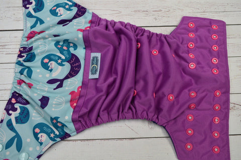Mermaids & Catfish (violet pul, imperial purple awj, two toned snaps- seaspray caps & hot pink pieces) <br>Wrap Around, One Size Pocket Diaper<br>Instock and Ready to Ship