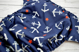SIlver Anchor  ( silver snaps ) <br>Traditional, One Size Pocket Diaper<br>Instock and Ready to Ship