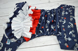 Silver Anchor WITH RUFFLE ( silver snaps ) <br>Traditional, One Size Pocket Diaper<br>Instock and Ready to Ship