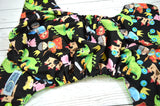Dragon Age Green WITH RUFFLE SNAPS ( two-toned snaps - apple caps / aqua pieces) <br>Traditional, One Size Pocket Diaper<br>Instock and Ready to Ship
