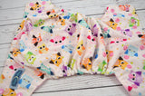 Sleepy Owls WITH RUFFLE SNAPS ( light pink snaps ) <br>Traditional, One Size Pocket Diaper<br>Instock and Ready to Ship