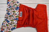 Who Loves The Doctor (red pul, royal blue awj, red snaps) <br>Wrap Around, One Size Pocket Diaper<br>Instock and Ready to Ship