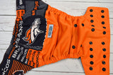 Denver (orange pul, navy blue awj & snaps) <br>Wrap Around, One Size Pocket Diaper<br>Instock and Ready to Ship